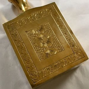 """Vintage 80s Solid Brass Etched Vase Boho 5.75"""""""